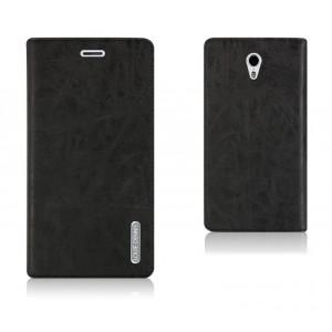 Чехол флип подставка на пластиковой основе с отделением для карты на присоске для ZUK Z1 Черный