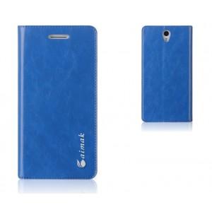 Чехол горизонтальная книжка подставка на пластиковой основе на присосках для ZUK Z1 Синий
