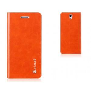 Чехол горизонтальная книжка подставка на пластиковой основе на присосках для ZUK Z1 Оранжевый