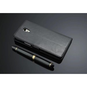 Кожаный чехол портмоне подставка на пластиковой основе и на магнитной защелке для ZUK Z1 Черный