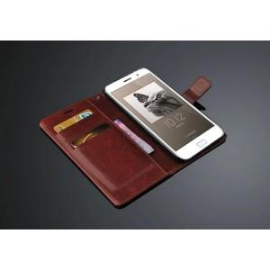 Кожаный чехол портмоне подставка на пластиковой основе и на магнитной защелке для ZUK Z1 Коричневый