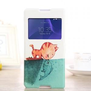 Чехол флип подставка с окном вызова на силиконовой основе с полноповерхностным принтом для Sony Xperia C4