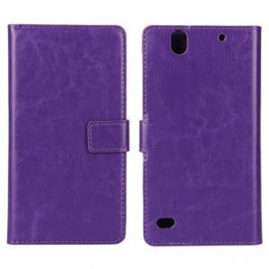 Глянцевый чехол портмоне подставка с защелкой на пластиковой основе для Sony Xperia C4 Фиолетовый