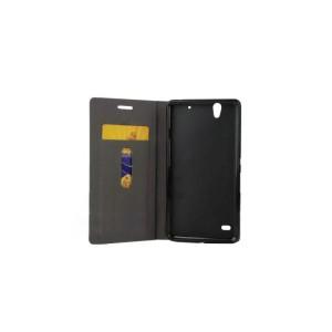Текстурный чехол флип подставка на силиконовой основе с отделением для карты для Sony Xperia C4 Синий