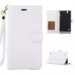 Глянцевый чехол портмоне подставка с магнитной защелкой текстура Крокодил для Sony Xperia C4 Белый