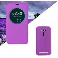 Текстурный чехол флип подставка на силиконовой основе с круглым окном вызова для ASUS ZenFone 2 Laser 6 Фиолетовый