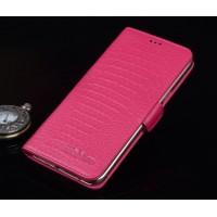 Кожаный чехол портмоне (нат. кожа крокодила) для ASUS ZenFone 2 Laser 6 Пурпурный
