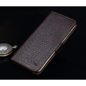Кожаный чехол портмоне (нат. кожа крокодила) для ASUS ZenFone 2 Laser 6 Коричневый