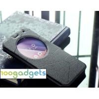 Чехол флип подставка текстурный с круглым окном вызова для ASUS ZenFone 2 Laser 6 Черный
