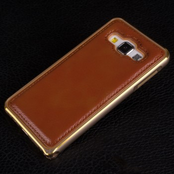 Двухкомпонентный гибридный чехол с металлическим бампером с золотой окантовкой и водоотталкивающей крышкой для Samsung Galaxy A3