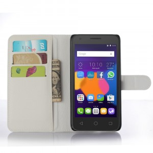 Чехол портмоне подставка с защелкой для Alcatel One Touch POP 3 5.5 Белый
