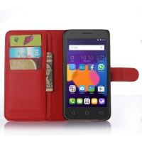 Чехол портмоне подставка с защелкой для Alcatel One Touch POP 3 5.5 Красный