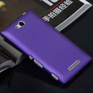 Пластиковый матовый непрозрачный чехол для Sony Xperia C Фиолетовый