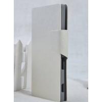 Текстурный чехол флип подставка на пластиковой основе с отделением для карт для Sony Xperia C Белый