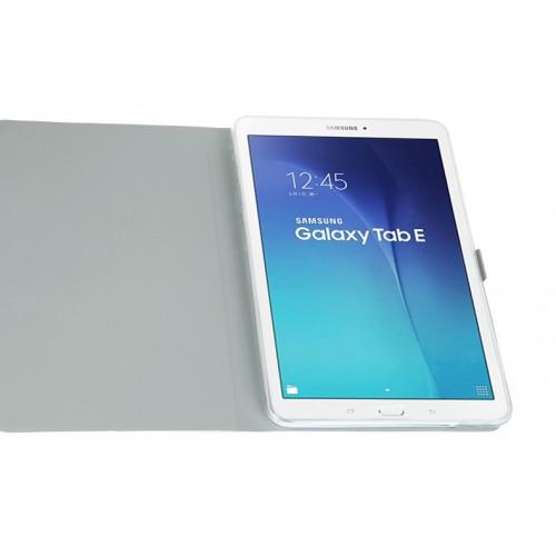 Чехол книжка подставка на силиконовой основе с полноповерхностным принтом и магнитной защелкой для Samsung Galaxy Tab E 9.6