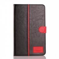 Глянцевый водоотталкивающий чехол книжка подставка на силиконовой основе с отделениями для карт и магнитной защелкой для Samsung Galaxy Tab E 9.6 Черный