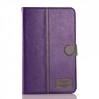 Глянцевый водоотталкивающий чехол книжка подставка на силиконовой основе с отделениями для карт и магнитной защелкой для Samsung Galaxy Tab E 9.6 Фиолетовый