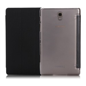 Сегментарный чехол книжка подставка текстура Линии на поликарбонатной транспарентный основе для Samsung Galaxy Tab S 8.4 Черный