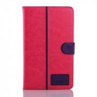 Глянцевый водоотталкивающий чехол книжка подставка на силиконовой основе с отделениями для карт и магнитной защелкой для Samsung Galaxy Tab S 8.4 Пурпурный