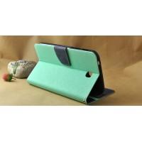 Чехол книжка подставка на силиконовой основе с отделениями для карт и магнитной защелкой для Samsung Galaxy Tab S 8.4 Зеленый