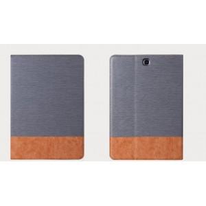 Чехол книжка подставка на поликарбонатной основе с отделениями для карт и тканевым покрытием для Samsung Galaxy Tab S2 8.0
