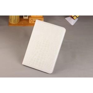 Чехол книжка подставка текстура Крокодил на поликарбонатной основе с отделениями для карт для Samsung Galaxy Tab S2 8.0