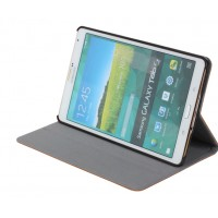 Кожаный чехол книжка подставка (нат. Кожа премиум) на поликарбонатной основе для Samsung Galaxy Tab S2 8.0 Коричневый