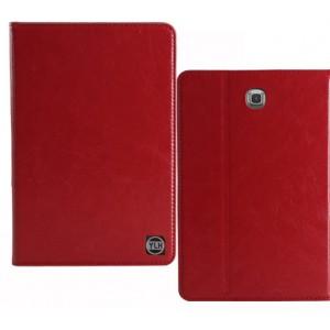 Кожаный чехол книжка подставка (нат. Кожа премиум) на поликарбонатной основе для Samsung Galaxy Tab S2 8.0 Бордовый