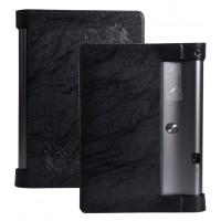 Дизайнерский чехол подставка с рамочной защитой и рельефным принтом для Lenovo Yoga Tab 3 Pro Черный