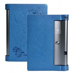 Дизайнерский чехол подставка с рамочной защитой и рельефным принтом для Lenovo Yoga Tab 3 Pro Синий