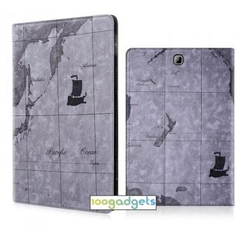 Чехол книжка подставка на поликарбонатной основе с отделениями для карт и полноповерхностным принтом для Samsung Galaxy Tab S2 8.0