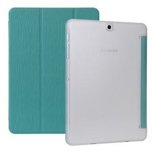 Сегментарный чехол книжка подставка текстура Дерево на поликарбонатной транспарентной основе для Samsung Galaxy Tab S2 8.0 Синий