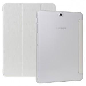 Сегментарный чехол книжка подставка текстура Дерево на поликарбонатной транспарентной основе для Samsung Galaxy Tab S2 8.0 Белый