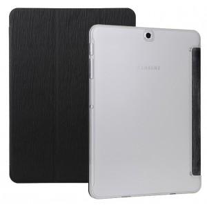 Сегментарный чехол книжка подставка текстура Дерево на поликарбонатной транспарентной основе для Samsung Galaxy Tab S2 8.0 Черный