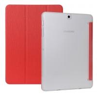 Сегментарный чехол книжка подставка текстура Дерево на поликарбонатной транспарентной основе для Samsung Galaxy Tab S2 8.0 Красный
