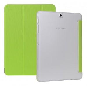 Сегментарный чехол книжка подставка текстура Дерево на поликарбонатной транспарентной основе для Samsung Galaxy Tab S2 8.0 Зеленый