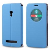 Чехол флип-подставка с окном вызова для ASUS Zenfone 6 Голубой