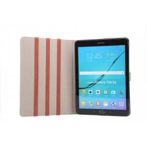 Чехол книжка подставка текстура Дерево на поликарбонатной основе с магнитной защелкой для Samsung Galaxy Tab S2 9.7 Коричневый