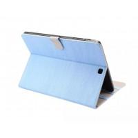 Чехол книжка подставка текстура Дерево на поликарбонатной основе с магнитной защелкой для Samsung Galaxy Tab S2 9.7 Голубой