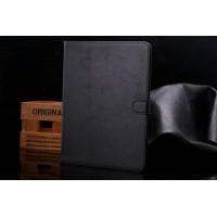 Винтажный чехол книжка подставка на поликарбонатной основе с отделениями для карт и магнитной защелкой для Samsung Galaxy Tab S2 9.7 Черный