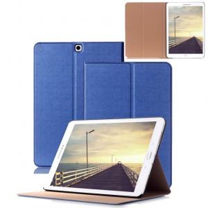 Чехол книжка подставка на поликарбонатной непрозрачной основе для Samsung Galaxy Tab S2 9.7 Синий