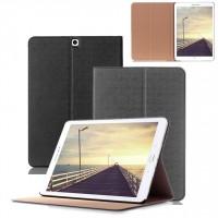 Чехол книжка подставка на поликарбонатной непрозрачной основе для Samsung Galaxy Tab S2 9.7 Черный