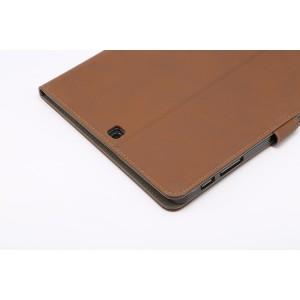 Винтажный чехол книжка подставка на поликарбонатной основе с магнитной защелкой для Samsung Galaxy Tab S2 9.7 Коричневый