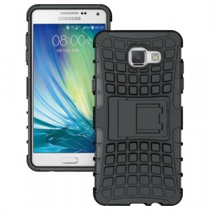 Антиударный гибридный силиконовый чехол с поликарбонатной крышкой и встроенной ножкой-подставкой для Samsung Galaxy A7 (2016) Черный
