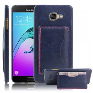 Дизайнерский чехол накладка с отделениями для карт и подставкой для Samsung Galaxy A7 (2016) Синий