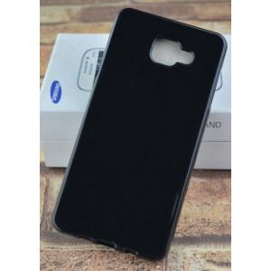 Силиконовый матовый непрозрачный чехол для Samsung Galaxy A7 (2016) Черный