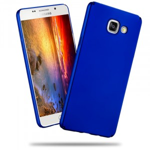 Пластиковый матовый металлик чехол для Samsung Galaxy A7 (2016) Синий