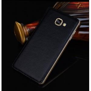 Двухкомпонентный гибридный чехол с металлическим бампером и кожаной накладкой для Samsung Galaxy A7 (2016)