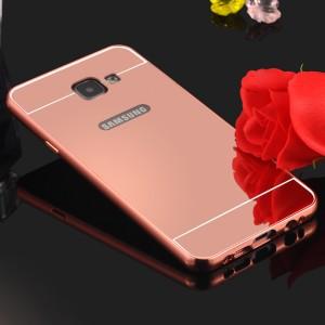 Двухкомпонентный чехол с металлическим бампером и поликарбонатной крышкой с зеркальным покрытием для Samsung Galaxy A7 (2016) Розовый
