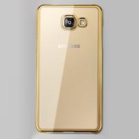 Пластиковый матовый полупрозрачный чехол для Samsung Galaxy A7 (2016) Бежевый